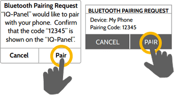 "Step 10:  When the messages appear on your phone and IQ Panel, ensure the numbers match and touch ""Pair"" on each."